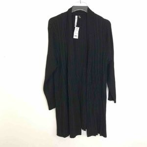 NY Collection Wrap Sweater Black Ribbed 1X New